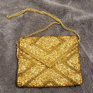 Vintage gold sequin seed bead hand beaded bag